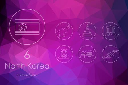 communistic: North Korea modern icons for mobile interface on blurred background Illustration