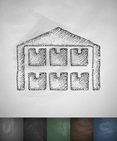 package sending: storage icon. Hand drawn vector illustration. Chalkboard Design