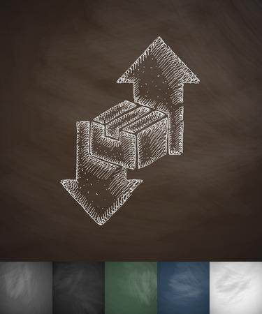 package sending: direction icon. Hand drawn vector illustration. Chalkboard Design