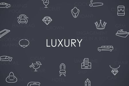 wealthy lifestyle: Thin Stroke Line Icons of Luxury on White Background Illustration