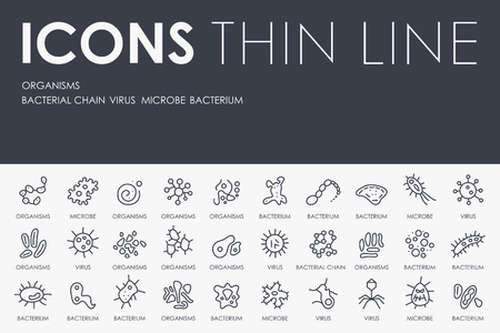 organisms: Thin Stroke Line Icons of Organisms on White Background