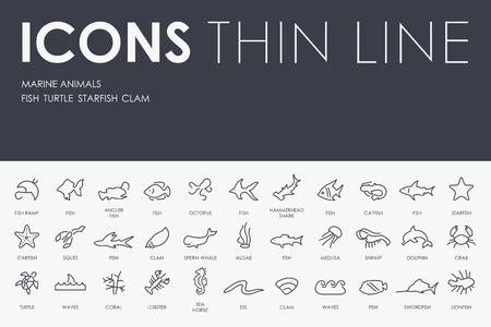 lionfish: Thin Stroke Line Icons of Marine Animals on White Background Illustration