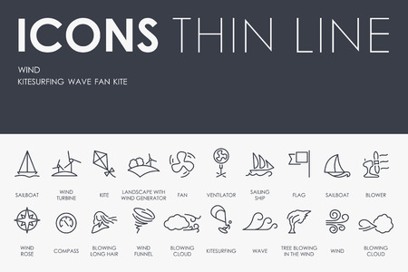 winds: Thin Stroke Line Icons of Wind on White Background