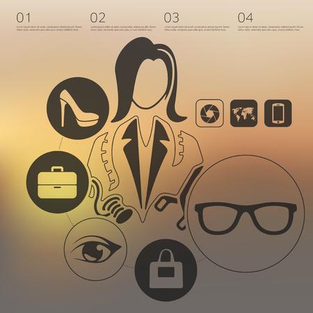 unfocused: shopping infographic with unfocused background Illustration