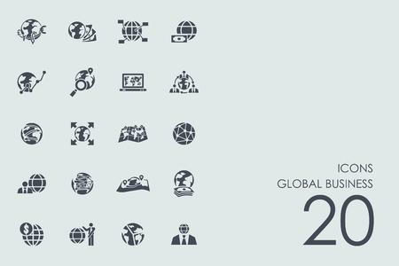 글로벌 비즈니스 벡터 현대 간단한 아이콘 세트 일러스트