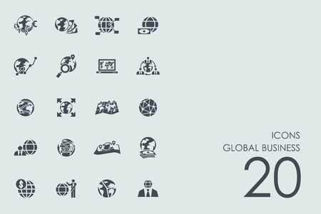 global business vector set of modern simple icons