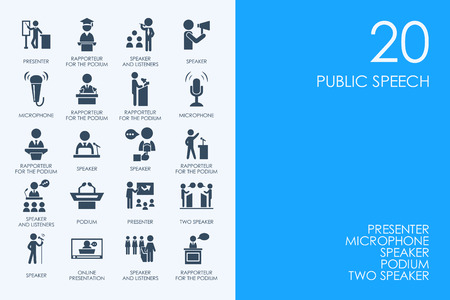 BLUE HAMSTER Library public speech vector set of modern simple icons