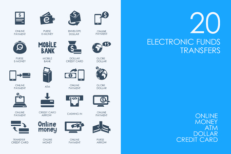 transfers: BLUE HAMSTER Library electronic funds transfers vector set of modern simple icons