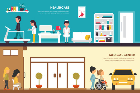 car care center: Healthcare and Medical Center flat hospital interior outdoor concept web vector illustration. Ambulance, Emergency, Laboratory, Medicine service and staff