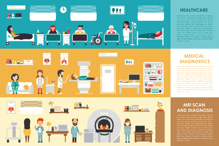 xray machine: Healthcare Medical Diagnostics MRI Scan hospital interior concept web vector illustration. Doctor, Nurse, Patient, Healthcare. Medicine service presentation Illustration