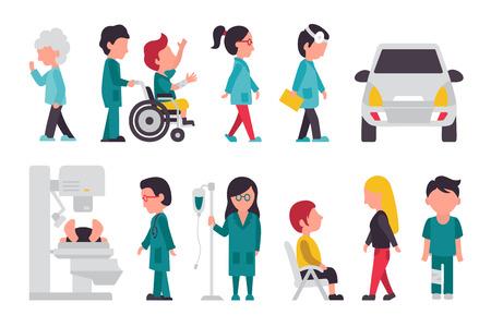 Medisch personeel Flat, op een witte achtergrond, arts, verpleegkundige, Care, Collectie Mensen Vector Illustratie Graphic bewerkbare Voor Uw Ontwerp
