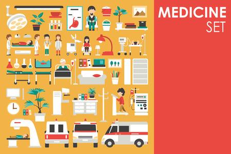 평면 디자인 배경 개념의 의료 큰 컬렉션. 인포 그래픽 요소는 의학 도구 장비 주위에 병원 직원 의사와 간호사로 설정합니다. 제품 또는 그림에 대 한