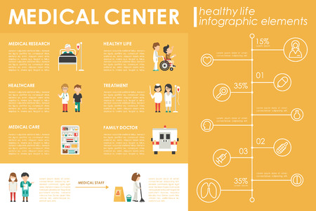 clinical laboratory: Medical Center concept Hospital infographic flat web vector illustration. Patient, nurse, clinical laboratory, doctor, treatment. Presentation timeline
