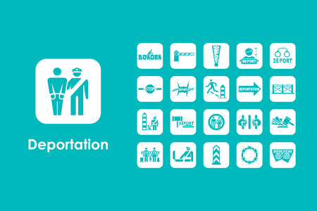 deported: It is a set of deportation simple web icons Illustration