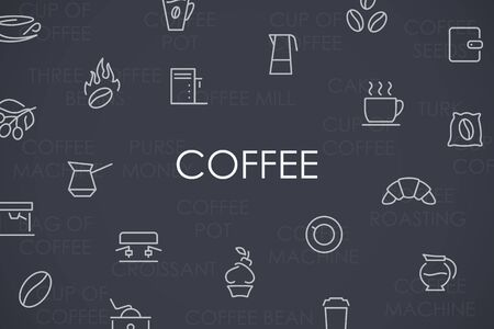 cheerfulness: Thin Stroke Line Icons of Coffee on White Background Illustration
