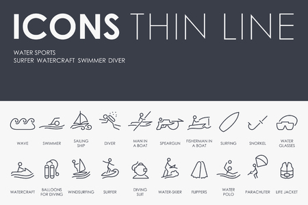 speargun: Thin Stroke Line Icons of Water Sports on White Background Illustration