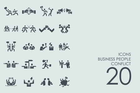 colleagues: business people conflict vector set of modern simple icons