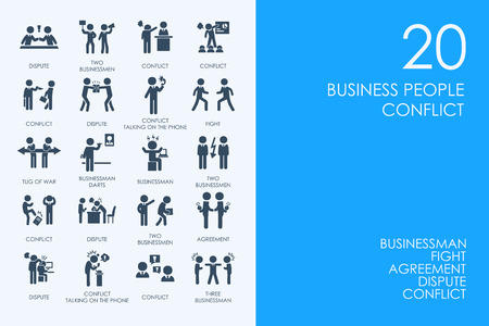 bossy: BLUE HAMSTER Library business people conflict vector set of modern simple icons