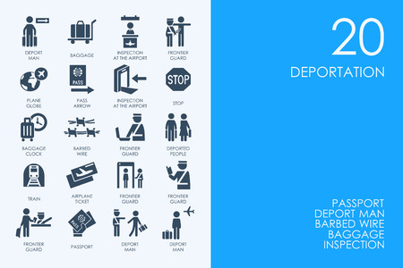 deportation: BLUE HAMSTER Library deportation vector set of modern simple icons