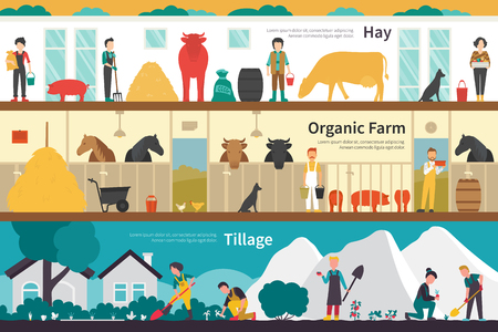 tillage: Hay Organic Farm Tillage flat school interior outdoor concept web. Career Chart Fun