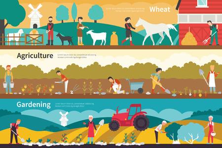 tillage: El trigo Agricultura Jardinería escuela plana interior al aire libre concepto de web. Gráfico de la carrera de la diversión