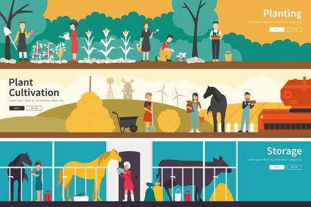 labranza: Planting Plant Cultivation Storage flat school interior outdoor concept web. Career Chart Fun