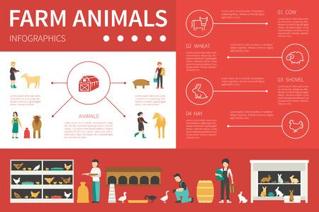 tillage: Animales de granja ilustración vectorial infografía plana. Presentación Concepto editable
