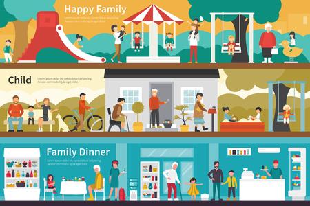 pareja comiendo: Feliz cena familiar del niño plana interior al aire libre concepto de web. Gráfico de la carrera de la diversión