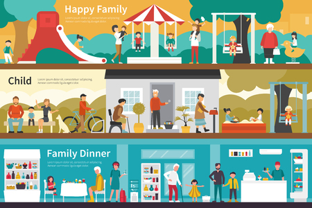 affection: Happy Family Child Family Dinner flat interior outdoor concept web. Career Chart Fun
