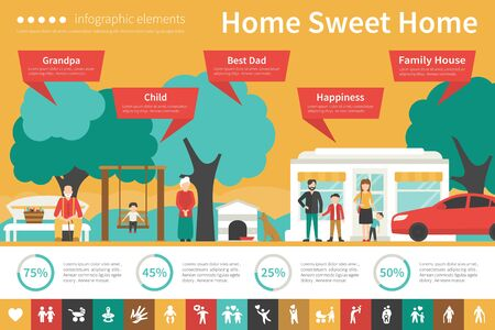 conjugal: Home Sweet Home infographic flat vector illustration. Editable Presentation Concept