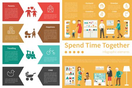spend: Spend Time Together infographic flat vector illustration. Editable Presentation Concept