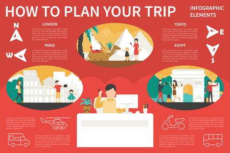 旅行インフォ グラフィック フラット ベクトル イラストレーションを計画するには、方法。編集可能なプレゼンテーション ・ コンセプト  イラスト・ベクター素材