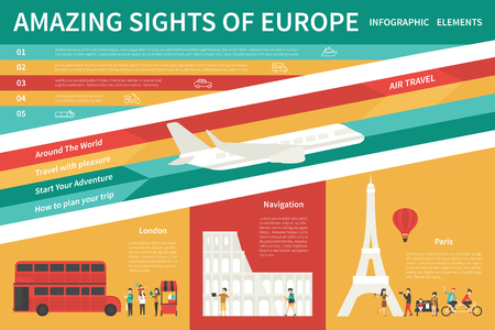 Amazing Sights Of Europe infographic flat vector illustration. Editable Presentation Concept