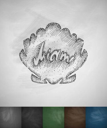 miami: shell Miami icon. Hand drawn vector illustration. Chalkboard Design