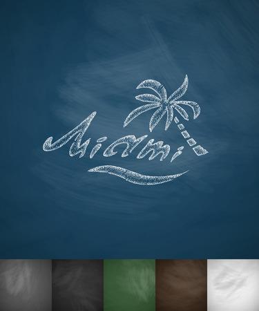 panoramic beach: palm Miami icon. Hand drawn vector illustration. Chalkboard Design