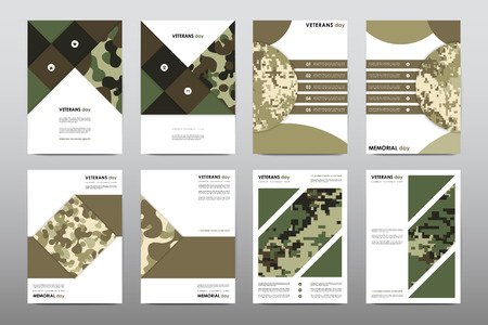 set of veterans day brochure poster templates in khaki style