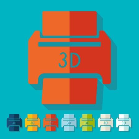 tridimensional: Flat design: 3D printer