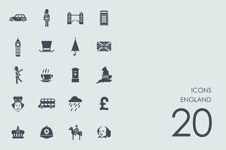 large group of object: England vector set of modern simple icons Illustration
