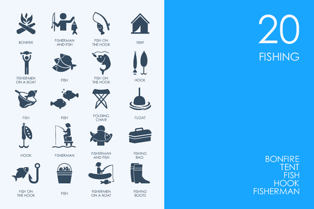 trawl: BLUE HAMSTER Library fishing vector set of modern simple icons