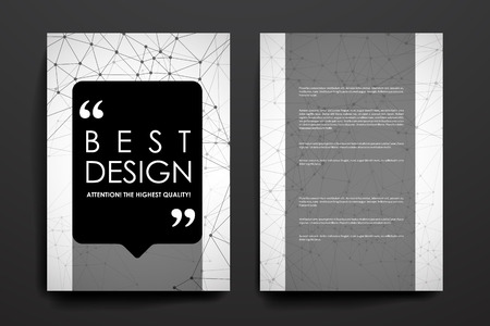 macromolecule: Set of brochure, poster templates in Molecular structure style. Beautiful design and layout