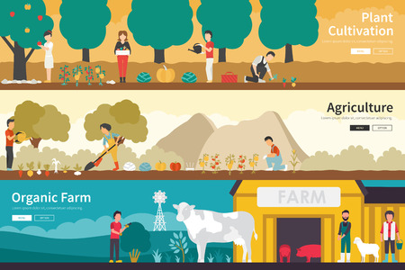 labranza: Plant Cultivation Agriculture Organic Farm flat school interior outdoor concept web. Career Chart Fun