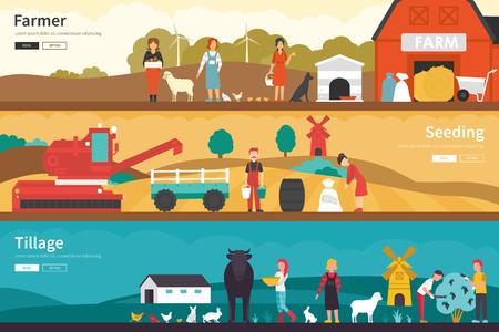 tillage: Agricultor siembra de labranza escuela plana interior al aire libre concepto de web. Gráfico de la carrera de la diversión