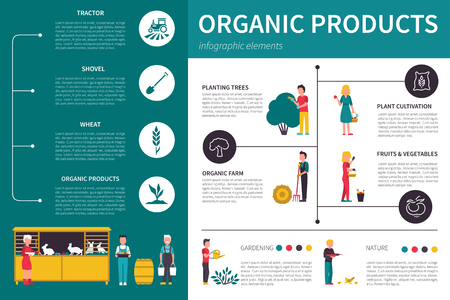 tillage: Productos orgánicos ilustración vectorial infografía plana. Presentación Concepto editable