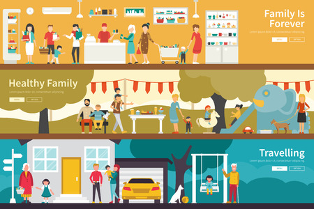 conjugal: Family Is Forever Healthy Family Travelling flat interior outdoor concept web. Career Chart Fun Illustration