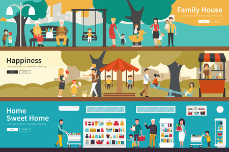 socialization: Family House Happiness Home Sweet Home flat interior outdoor concept web. Career Chart Fun