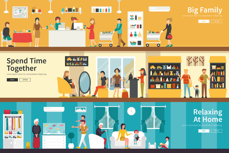 Big Family Spend Time Together Relaxing At Home flat interior outdoor concept web. Career Chart Fun Illustration