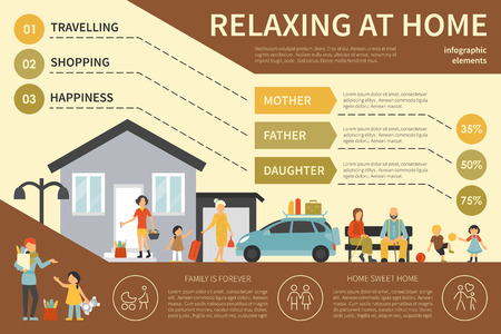 conjugal: Relaxing At Home infographic flat vector illustration. Editable Presentation Concept