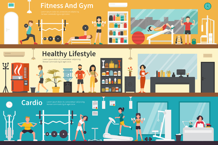 outdoor fitness: Fitness And Gym Healthy Lifestyle Cardio flat fitness interior outdoor concept web. Career Chart Fun Illustration