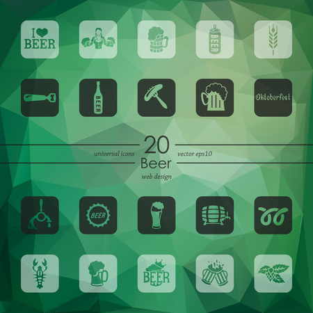 beer modern icons for mobile interface on blurred background Illustration