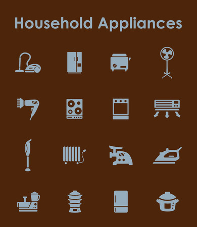 household appliances: It is a set of household appliances simple web icons